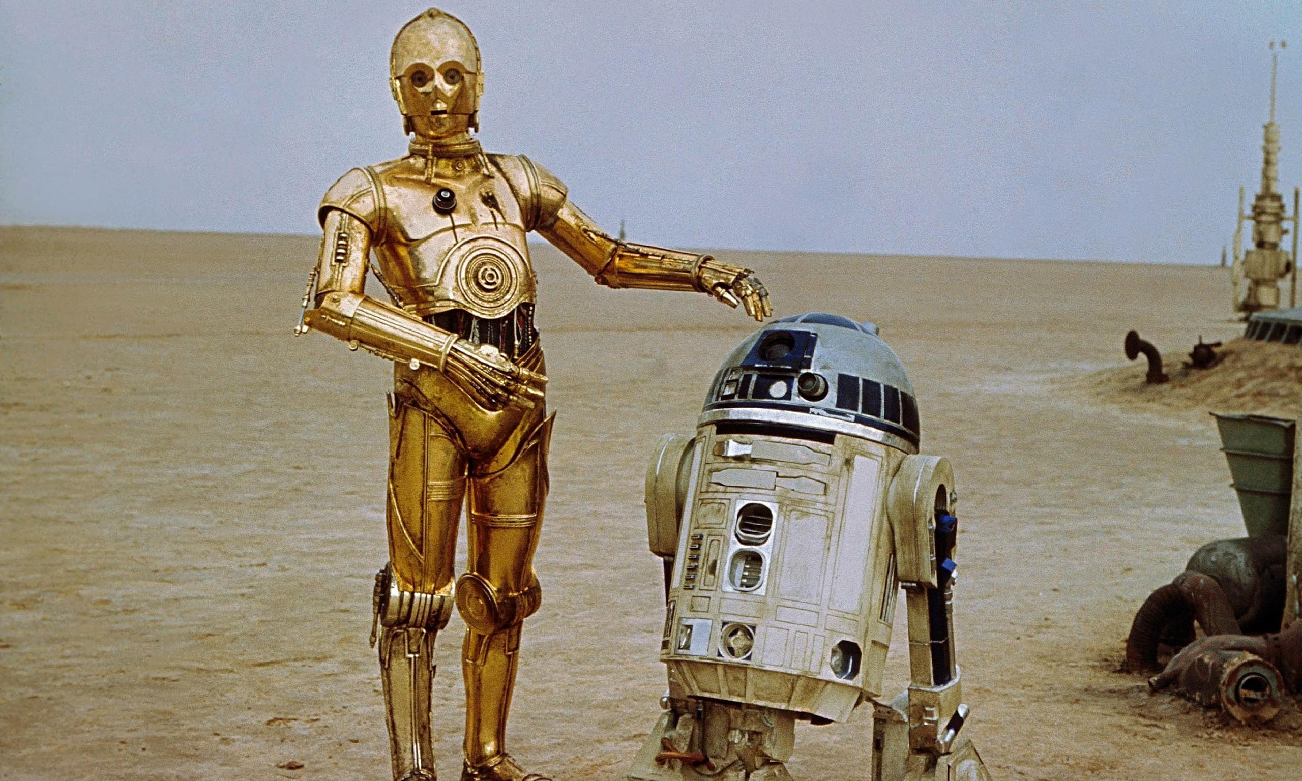 Shifting sands … C-3PO and R2-D2 on Tatooine in the Star Wars Episode IV: A New Hope